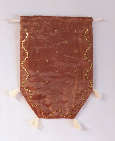 Reticule - Spangled Pink/Gold Organza