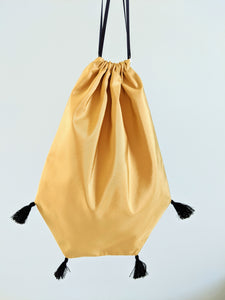 Reticule with Tassels - Gold Taffeta