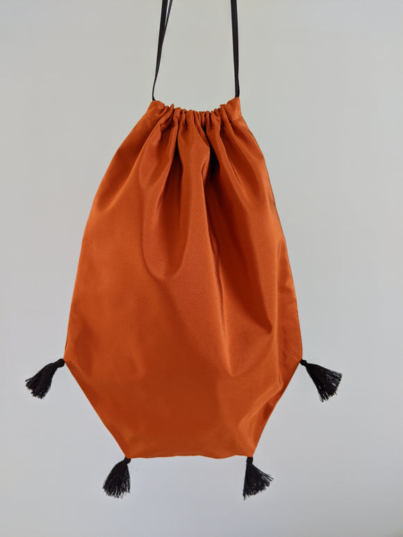Reticule with Tassels - Orange Taffeta