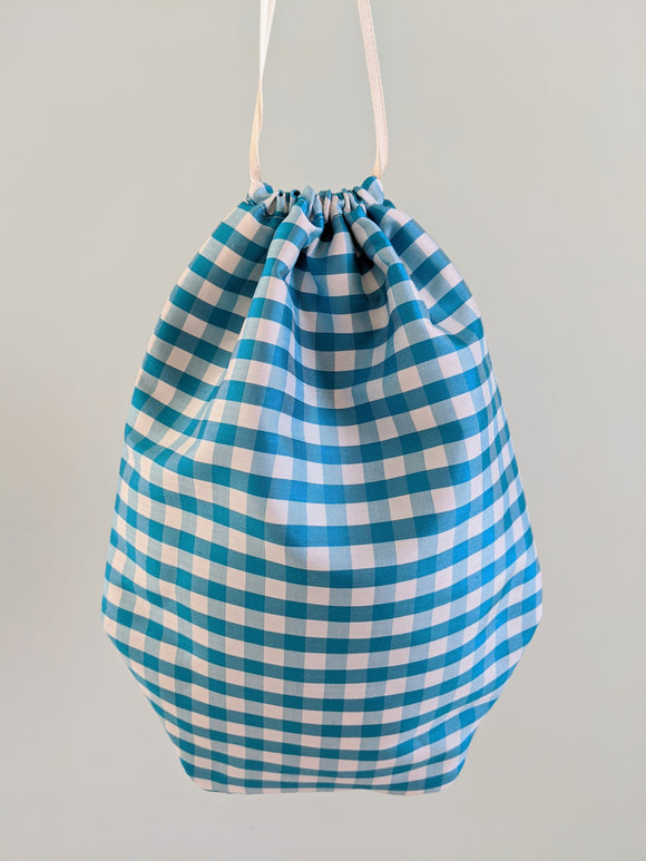 Reticule - Blue Check Silk