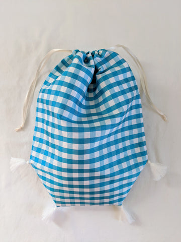 Reticule with Tassels - Blue and White check