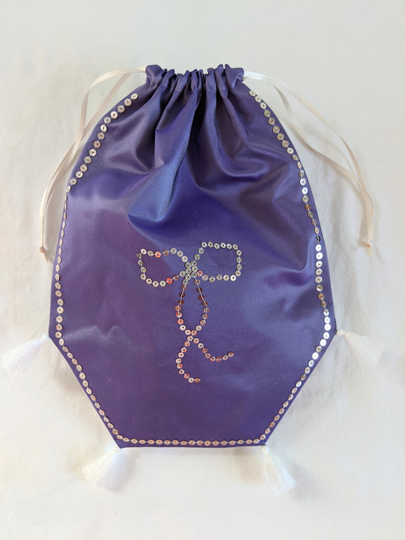 Reticule - Spangled Purple with Bow