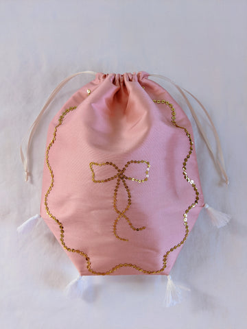 Reticule - Spangled Pink with Gold Bow