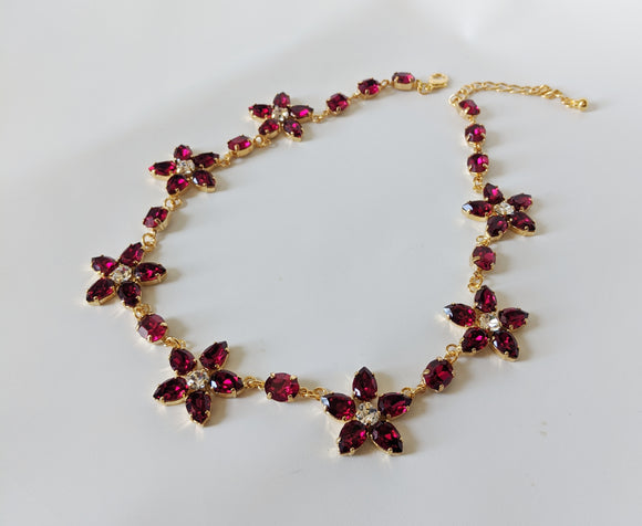 Floral Necklace - Fuchsia Swarovski Teardrops