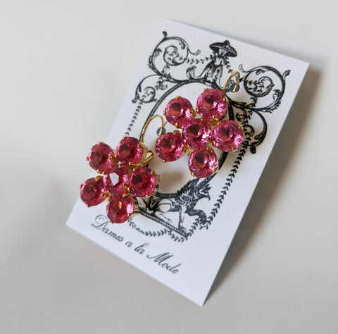 Floral Earrings - Pink Topaz Round Crystals