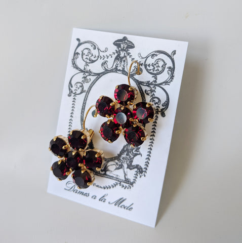 Floral Earrings - Garnet Round Crystals