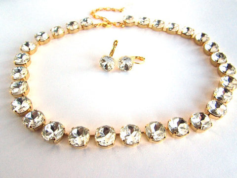 Clear Paste Crystal Collet Necklace - Small Round
