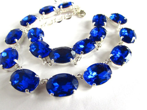 Sapphire Blue Crystal Riviere Necklace - Medium Oval