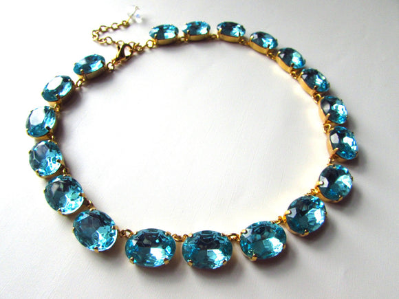 Large Aquamarine Blue Collet Necklace
