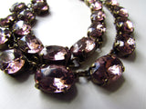 Light Amethyst Purple Crystal Collet Necklace - Medium Oval