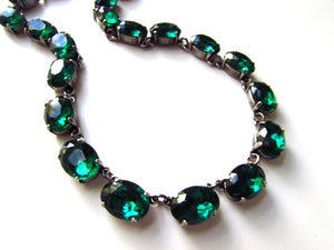 Emerald Crystal Collet Necklace - Medium Oval