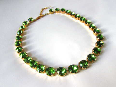 Peridot Green Riviere Necklace - Small Oval