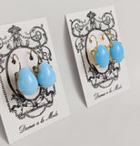 Light Blue Turquoise Earrings - Large Oval, Large Teardrop