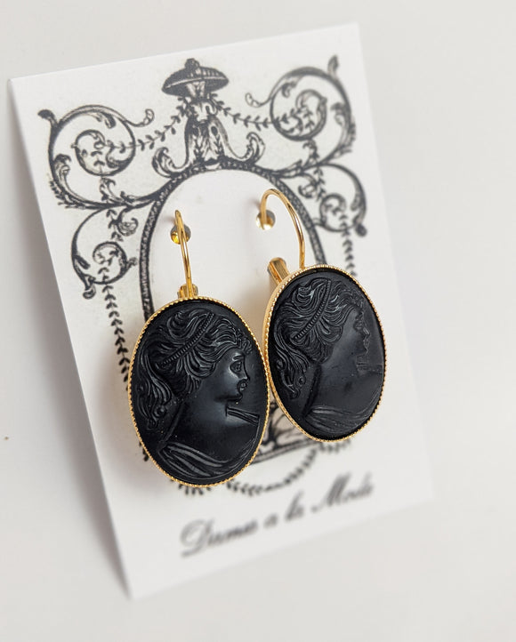 Cameo Earrings - Black Silhouette