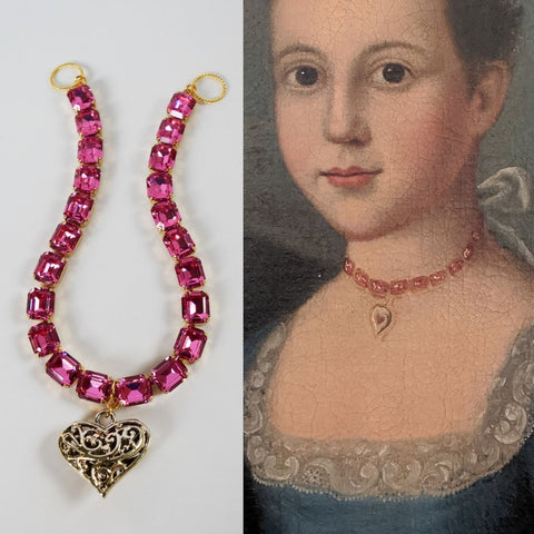 Pink Topaz 18th Century Collet Necklace with Heart Pendant