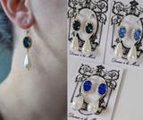 Blue and Pearl Crown Earrings - Medium Oval