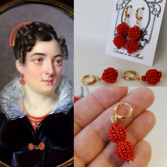 Red Coral Cluster Dangle Earrings
