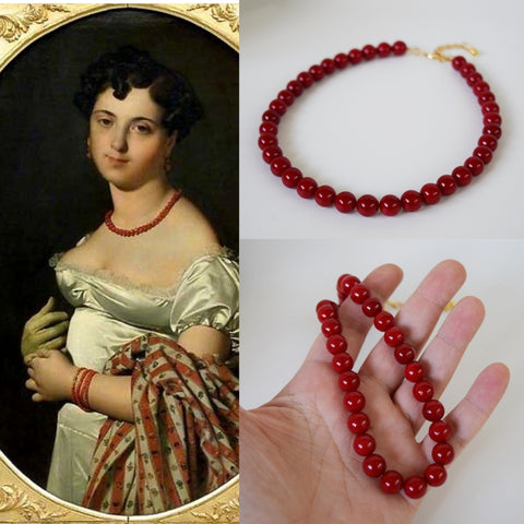 Red Coral Beaded Necklace - Medium