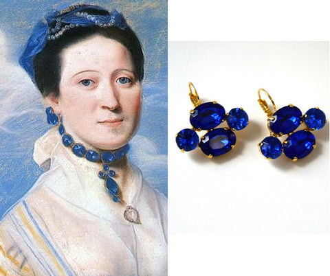 Reproduction 18th Century Georgian Paste Earrings, Sapphire Blue 18th Century Earrings