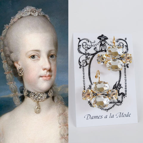 18th Century Clear Crystal Earrings