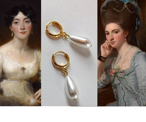 Pearl and Hoop Dangle Earrings - Small