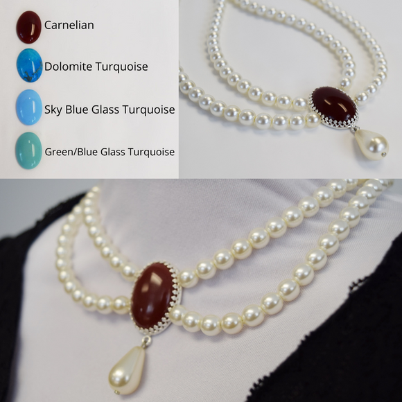 Festoon Necklace - Pearl with Extra Large Focal Stone