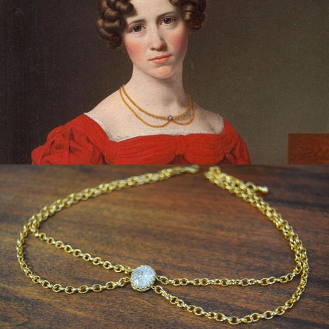 Chain and Crystal Festoon Necklace