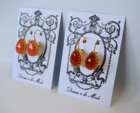 Coral or Carnelian Teardop Crown Earrings - Medium Teardrop