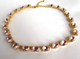 Blush Pink Crystal Riviere Necklace - Medium Oval