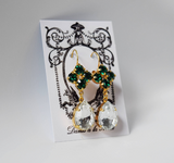 Emerald and Crystal Teardrop Cluster Earrings