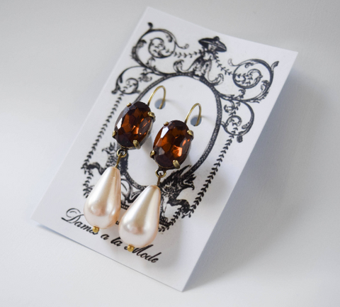 Brown Topaz Crystal and Pearl Earring