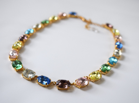 Pastel Crystal Harlequin Collet Necklace - Medium Oval