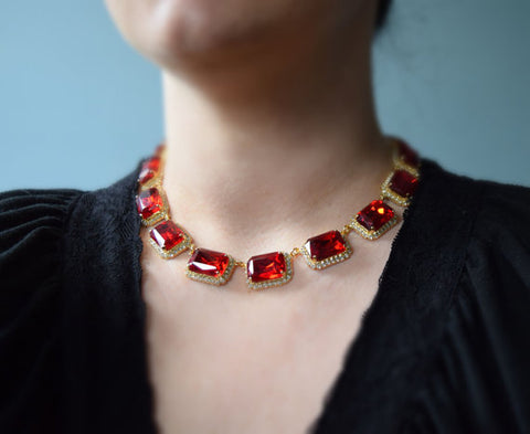 Halo-Style Ruby Crystal Rivere Necklace