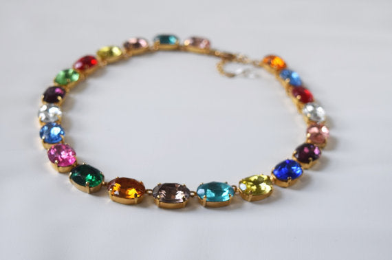 Harlequin Collet Necklace, Large Oval Rainbow Riviere Necklace