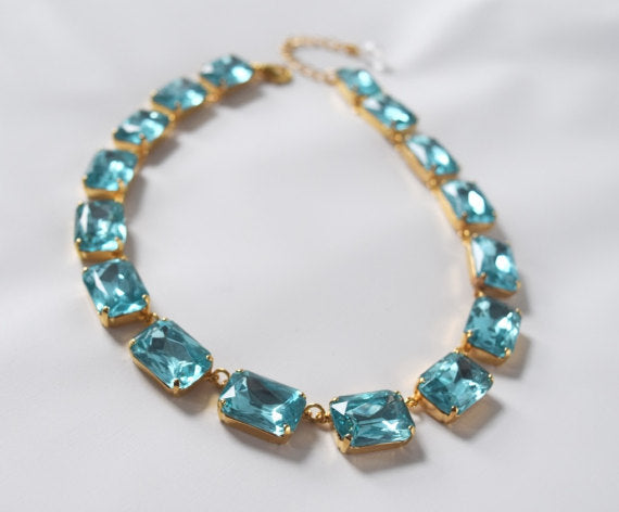 Aquamarine Crystal Collet Necklace | Large Octagon Riviere