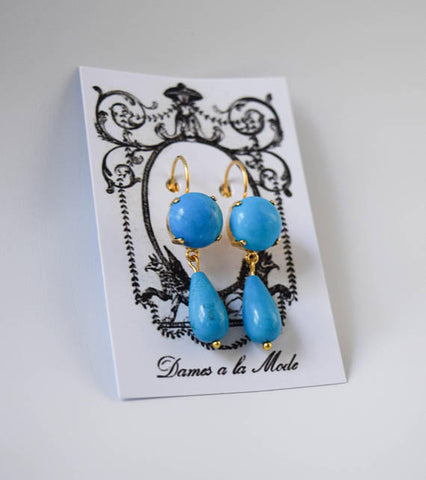 Faux Turquoise Dangle Earrings, 2-Stone Turquoise