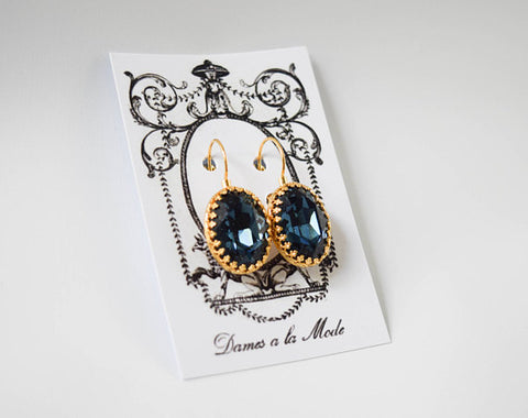 Navy Blue Swarovski Crown Set Earrings