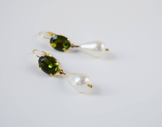 Olive Crystal and Pearl Earring