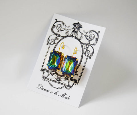 Rainbow Crystal Earrings - Large Octagon