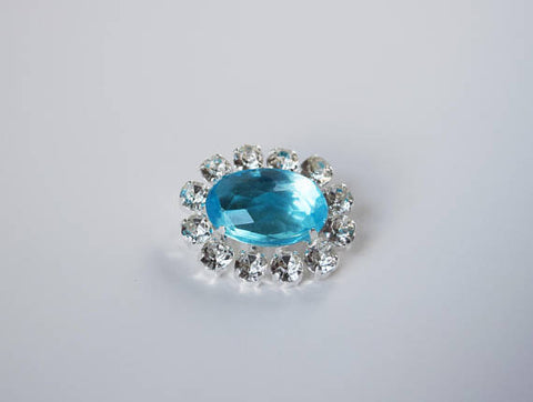 Aquamarine Blue Crystal Cluster Brooch