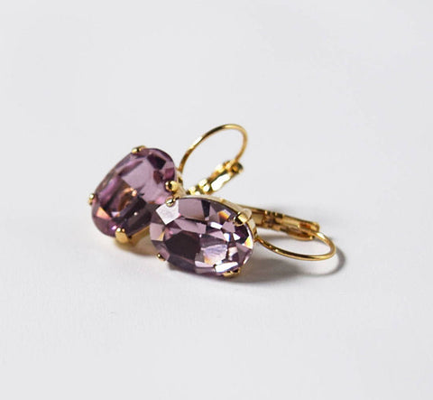 Light Purple Swarovski Crystal Earrings
