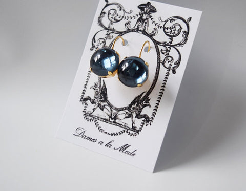 Navy Blue Mirror Back Earrings