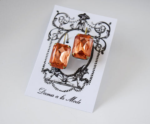 Peach Pink Crystal Earrings - Large Octagon