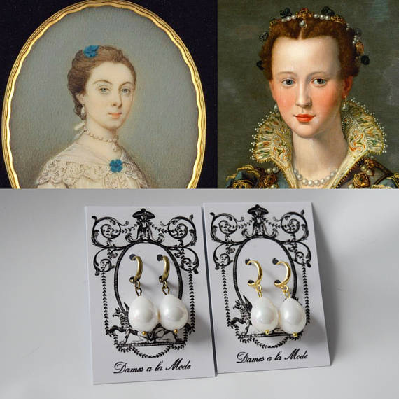 Shell Pearl Teardrop Earrings - Elizabethan, Georgian, Victorian