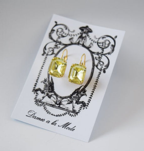 Yellow Crystal Octagon Earrings