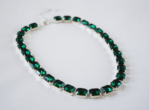 Emerald Green Crystal Collet Necklace - Small Octagon