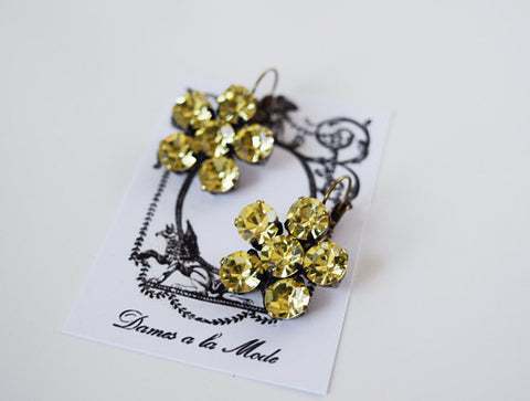 Yellow Crystal Flower Earrings