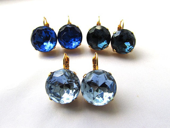 Medium Round Blue Paste Glass Earrings