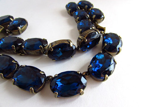 Montana Sapphire Crystal Necklace | Large Oval Navy Riviere