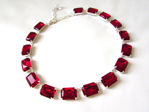 Red Crystal Collet Necklace - Large Octagon